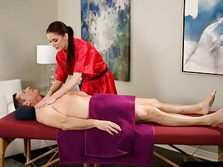 Hot masseuse Anna Deville pussy banged on massage table