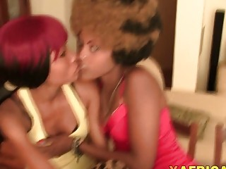 Ebony babes suck cock and get banged in threesome
