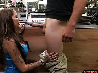 Booby tattooed lady nailed by pawn dude at the pawnshop