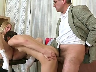 Young gal is being ravished by a lusty mature man