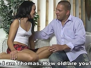 The owner surprises his tenant playing with a dildo