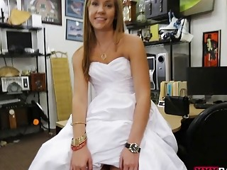 Woman in wedding dress boned by pawn guy