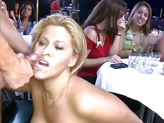 Naughty blonde pruning a beautiful blowjob to her father