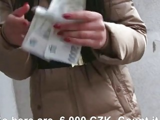 Czech babe with glasses shows off ass and fucked for cash